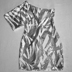 Silver & White Sparkle Party Club Dress One Sleeve